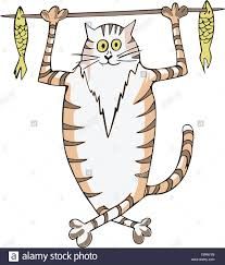 happy stripy fat cat caught fish and carrying it on a stick vector vinyl