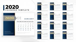 Professional Calendar Template Elegant Professional 2020 Business Calendar Template Vector