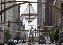 the world s largest chandelier hangs in cleveland s playhouse square ap photo tony dejak
