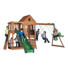 Backyard Discovery Pacific View Residential Wood Playset with Swings
