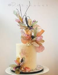 Small Wedding Cake With Colorful Wafer Paper Flowers Cakecentralcom