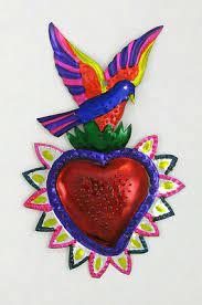 "MEXICAN ""HEART W/BIRD"" TIN SACRED HEART MILAGRO EX VOTO | eBay"