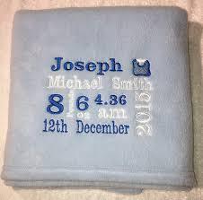 personalised baby birth gift blanket keepsake birth dels boy pink blue white lemon baby gift blue amazon co uk baby