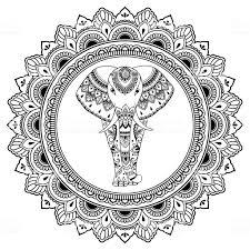 Afrikaanse Olifant In Mandala Versierd Met Indiase Etnische Vintage