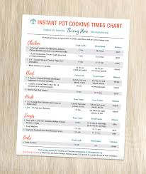 Vegetable Cooking Time Chart Instant Pot Cooking Times Chart Fresh Meals Freezer Meals