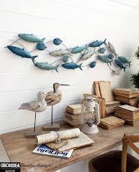 Pannelli decorativi per pareti con pesci realizzati in metallo