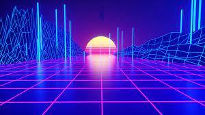 Retrowave Neon Sunset Abstract Digital ...