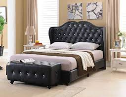 Tufted Platform Kitchen King Kings Dining Leather Amazon amp; Bed Upholstered Furniture Black Size Design Faux com Brand