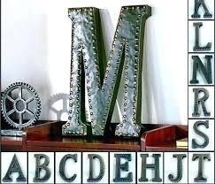metal monogram letters wall decor superb tage large letter door for hanging wooden