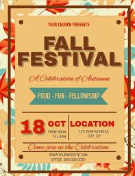 Fall Festival Flier Fall Autumn Festival Church Flyer Template Postermywall