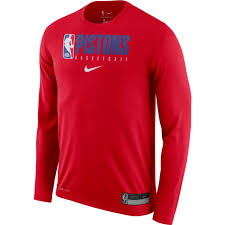 Nike Dri Fit Long Sleeve Size Chart Detroit Pistons Mens Nike Practice Graphic Red Long Sleeve Tee