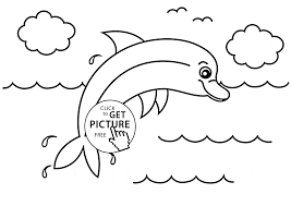 Small Picture Little Dolphin animal coloring page for kids animal coloring