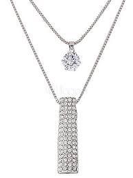 silver pendant necklace women s rhinestones tiered