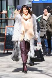 bethenny frankel in fur coat and leather pants ping