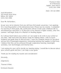 Experienced Teacher Cover Letters Sample Elementary Education Cover Letter Cover Letter Example 1