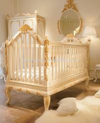 Luxury wooden baby crib, Royal golden hand carving new born baby cot - BF07-