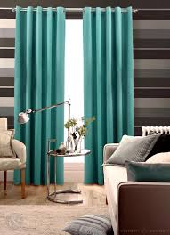 Excellent Teal Faux Silk Modern Drapes For Windows Treatment Added Grey  Striped Wallpaper Also Modern Couch And Rounded Tables In Midcentury Living  Decors