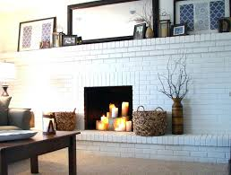 large white brick fireplace wall paired with decorative braid baskets also rectangle mirrorwhite painted interior cleaning