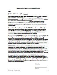 Letter Of Reccomendation Templates Letter Of Recommendation Template Free Download Create