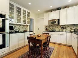 cabinet refacing white. White Wooden Kitchen Cabinet Brown Square Table Chairs Mozaic Ceramic Backsplash Recessed Refacing