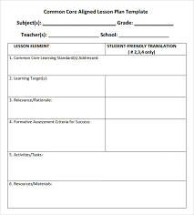 sample lesson plan outline sample lesson plan template common core standards pleasant