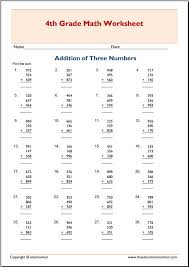4th grade addition with three addends worksheets – EduMonitor