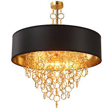black modern chandeliers. Modern Chandeliers With Black Drum Shade Pendant Light Gold Rings Drops In Round Ceiling Fixture Plug Lamp Maskros From