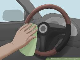 image titled clean a leather steering wheel step 1
