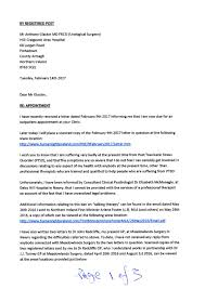 Letter To Mr Anthony Glackin Md Frcsi Urological Surgeon