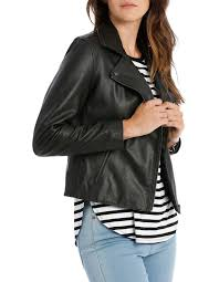 leather jacket with zip and pockets image 2