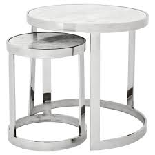 eichholtz fletcher modern classic silver white marble round nesting side tables kathy kuo home