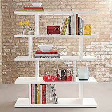 Furnitures:White Free Standing Bookshelves Near Brick Wall Creative, Unique  and Modern Shelves for