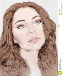 Drawing Face Of Woman For Template Stock Illustration
