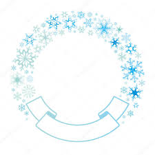 Border And Ribbon From Colored Snowflakes Light Color