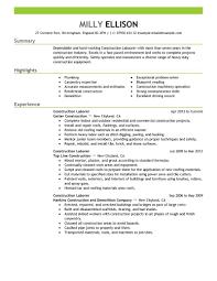 Construction Laborer Resume Basic Captures Labor Emphasis 2 Create
