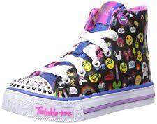 skechers shoes for girls black. skechers kids girls shuffles chat time sneaker emoji black multi 1 m us litt twi shoes for 7