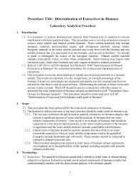 determination of extractives in biomass 4 procedure title determination