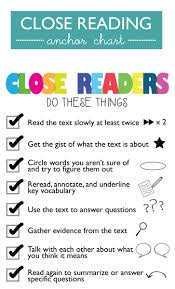 Close Reading Anchor Chart Ms Houser