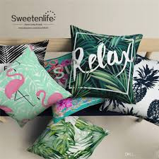 custom made white linen material throw pillows tropical plant decorative pillows red crane and pineapple pattern cushions home decor outdoor patio cushion