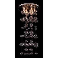 like bubbles rising in a champagne flute the inertia ceiling lamp has strands of blown glass orbs rising to a stainless steel base