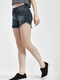 Buy Jealous 21 Indigo Frayed Asymmetric Hem Denim Shorts For
