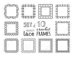Border Patterns Gorgeous Vector Set Of 48 Sketch Lace Crochet Square Frames Ornate Crochet