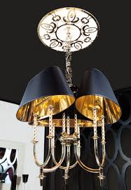 signature collection lighting luxury engraved chromed brass chandelier feature enameled ceiling canopy black silk shades gold reflective lining 3 e27