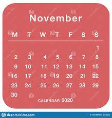 November 2020 Planning Calendar Simple November 2020
