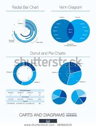 Radial Venn Diagram Useful Infographic Template Set Graphic Design Stock Vector