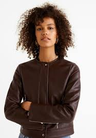 marc faux leather jacket brown