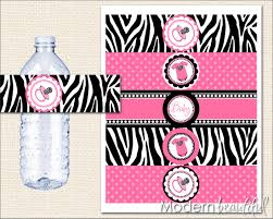 Decorating Water Bottles For Baby Shower Manificent Decoration Pink And Zebra Baby Shower Winsome Design 99