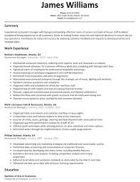 Resume Template Restaurant Manager Free Download Templates Of For