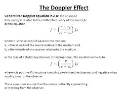 the doppler effect generalized doppler equation in 2 d the observed