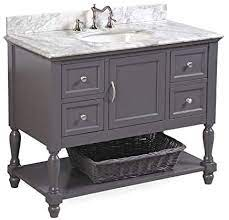 Amazon Com Beverly 42 Inch Bathroom Vanity Carrara Charcoal Gray Includes Charcoal Gray Cabinet With Authentic Italian Carrara Marble Countertop And White Ceramic Sink Home Improvement